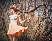 Peach orchid - short sleeve skater dress