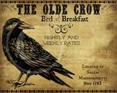 Primitive Vintage Olde Crow Bed and Breakfast Feedsack Logo Pantry Jar Crock Crate Book Label Jpeg Image
