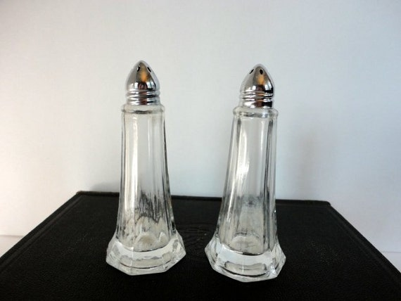 Vintage Clear Glass Salt And Pepper Shakers Pair By