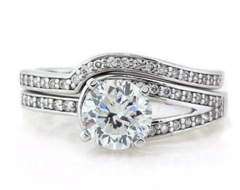 Unique Moissanite Engagement Ring Matching Diamond Band