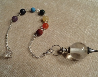 Reiki attuned and blessed Chakra pendulum with Clear Crystal Quartz bob, adorned with 7 chakra gemstone beads - Gifts under 20