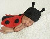 Crochet Ladybug Set - Newborn Photo Prop - Baby Girl Gift - Ladybug Baby Shower Gift - Lady Bug Newborn Gift Set - Ladybug Nursery