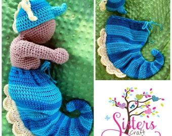 Crochet Newborn Seahorse set - Hat and Cocoon Set - Seahorse Cocoon - Newborn Halloween Costume - Newborn Photo Prop - Baby Seahorse Set