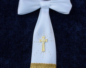 Boy First Communion Arm Bow Ribbon with Gold Cross