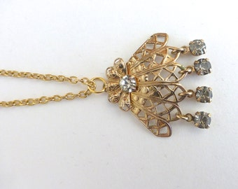 Repurposed Vintage 1950's Long Gold and Filigree Rhinestone Crystal Fan Pendant Necklace