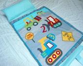 "Nap Mat Kindermat Preschool Toddler Kindergarten Day Care Blanket Pillow Cover Plush Gray Minky Trucks Diggers Bedding Boys Kids 20"" x 49"""