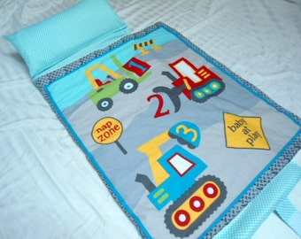 "Nap Mat Kindermat Preschool Toddler Kindergarten Day Care Blanket Pillow Cover Plush Gray Minky Trucks Diggers Bedding Boys Kids 20"" x 49"""