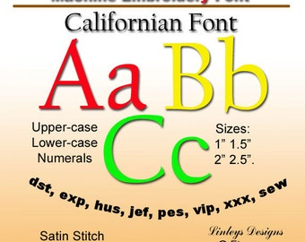 Download Machine Embroidery Alphabet Californian Font