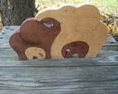 Elephant Animal puzzle Maple wood scroll saw cut