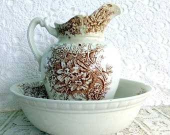 SALE Washbowl and Pitcher Antique Ornate Brown Transferware(1800's)