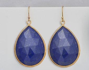Lapis earrings - Gemstone earrings - Large gold Earrings - Statement Earrings - Dangle Earrings- September Birthstone Earrings - bezel set
