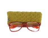 SALE - 30% OFF. Olive Green Glasses Case. Green Reading Glasses Case. Eyeglasses or Sunglasses Holder. Knit Glasses Case.