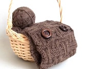 Knit Headband or Infinity Scarf 2 in 1. Knitted Brown Head or Neck Warmer. Fashion Accessory.
