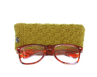 SALE - 30% OFF. Olive Green Glasses Case. Green Reading Glasses Case. Eyeglasses or Sunglasses Holder. Knit Glasses Case.