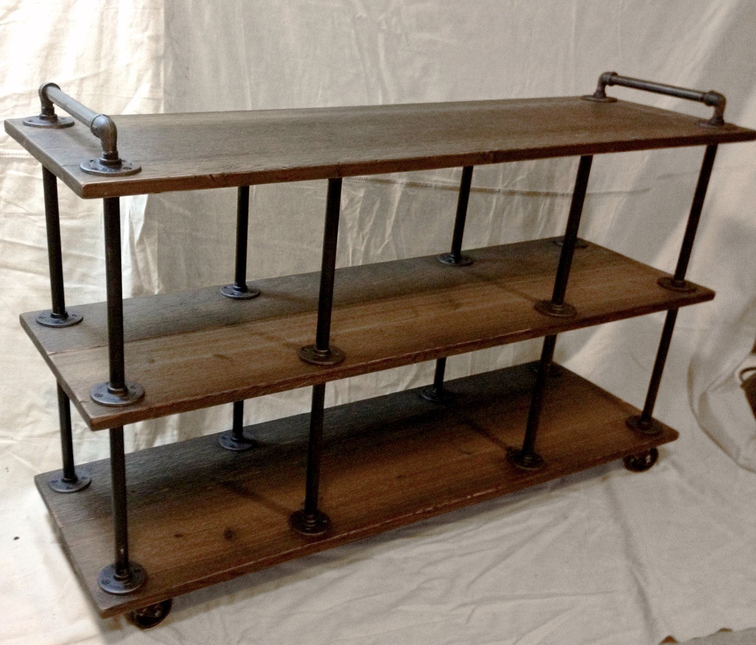 industrial tv stand iron and wood for 46 to 52. Black Bedroom Furniture Sets. Home Design Ideas