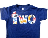Farm Birthday Shirt- Boys 2nd two Indigo Birthday T Shirt - Tractors and Animals Cow Sheep Pig Chicken Rooster