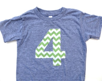 Light green birthday shirt Number 4 Birthday Shirt- Any Birthday Number Triblend Grey TShirt with grass green white Chevron birthday outfit