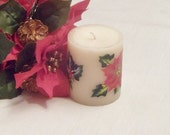 Ivory hand painted holiday poinsettia candle; Vanilla scented holly candle; Home Decor Gift candle