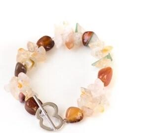 Natural Quartz beaded bracelet, Organic Stone Jewelry