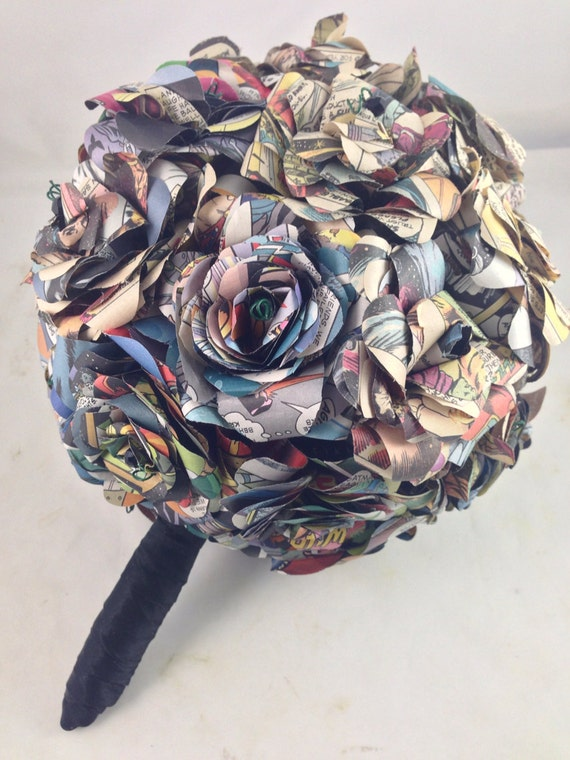 Comic Book Wedding Bouquet, Wedding Bouquet made out of Comic Books