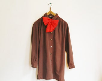 Vintage brown blouse with red bow collar/ golden buttons