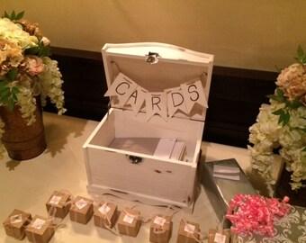 Wedding Card Box Shabby Chic Memory Keeper Medium Sized Treasure Trunk Hand Painted  keepsakes, storage and organization