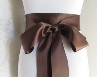 Chocolate Brown Satin Ribbon Sash / Ribbon Sash / Satin Bridal Sash /  Bridesmaid Sash / Chocolate