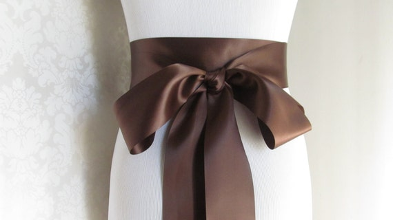 Chocolate Brown Satin Ribbon Sash / Ribbon Sash / Satin Bridal Sash /  Bridesmaid Sash / Chocolate