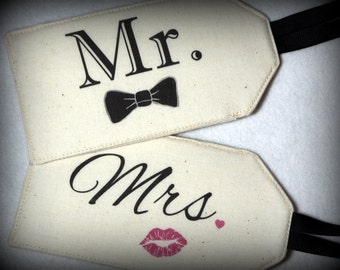 MR. Bow & MRS. Lips - Fabric Luggage Tags