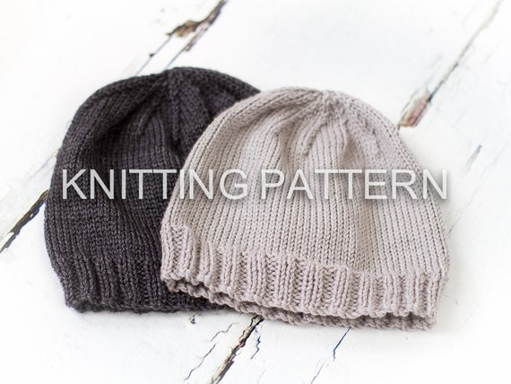 Knitting Pattern For Childrens Hats : Knitting Pattern Classic Aran Beanie Hat by BlueberryBarnDesigns