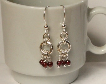 Garnet and Sterling Silver Dangle Earrings - January Birthstone - Perfect For Valentines Day