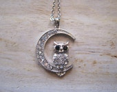 Silver Owl and Moon Necklace - Silver Rhinestone Owl and Moon Necklace -Owl and Moon - Animal Jewelry