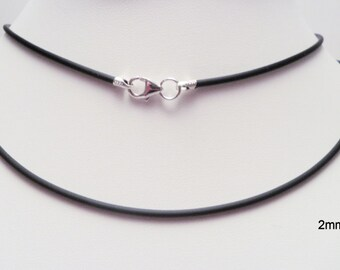 2mm black rubber cord necklace sterling silver ends & lobster clasp - you pick length