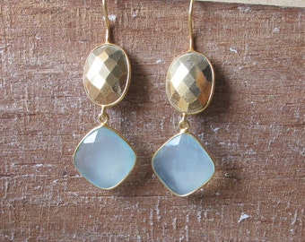 Blue Topaz Earrings- Pyrite Earrings- Gold and Blue Earrings- Gold Stone Earrings- Silver Stone Earrings- Stone Earrings- Gemstone Earrings