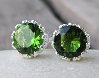 Forest Green Topaz Earring- Green Quartz Earring- Round Shape Earring- Faceted Green Stud Earring- Classic Stud Earring-Simple Everyday Stud