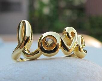Silver Love Ring- Citrine Ring- Silver Citrine Ring- Gemstone Ring- Bestfriend Ring- Stone Ring- Word Love Ring- November Birthstone Ring