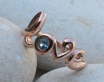 Silver Love Ring- Topaz Ring- Blue Topaz Ring- Gemstone Ring- Bestfriend Ring- Stone Ring- Word Love Ring- December Birthstone Ring- Ring