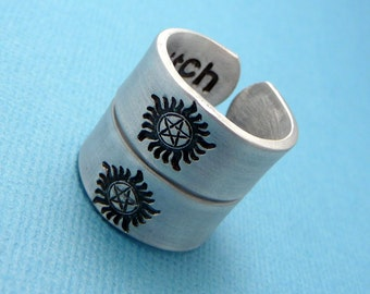 Supernatural Inspired - Anti-possession. Bitch & Jerk - A Pair of Double Sided Hand Stamped Aluminum Rings