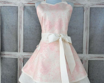 Special occasion/Wedding sweetheart glitzy retro full womens apron pink and white frosted fabric 2 layers one size fits most