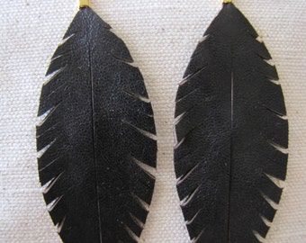Black Fleather Earrings