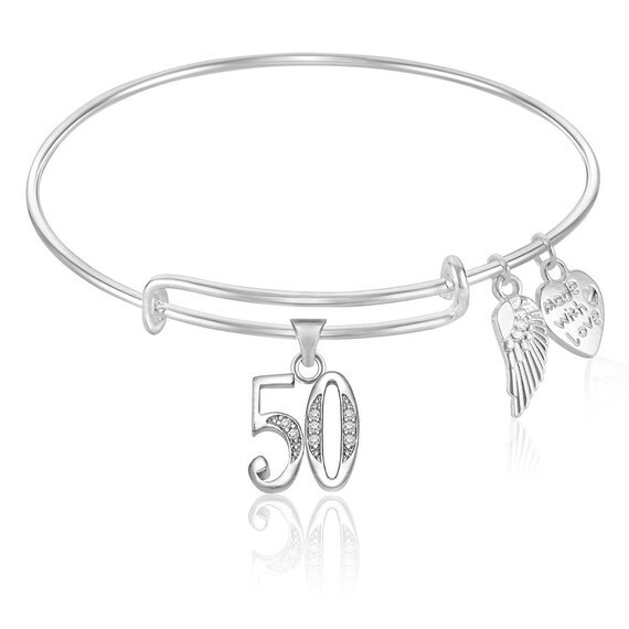 Number 50 Fifty 50th Birthday Expandable Wire Bangle Bracelet