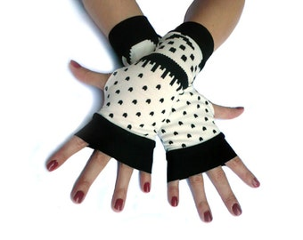Winter Gloves Arm Warmers Fingerless Gloves - Christmas, Arm Warmers , Snowflakes Armwarmers Black and White