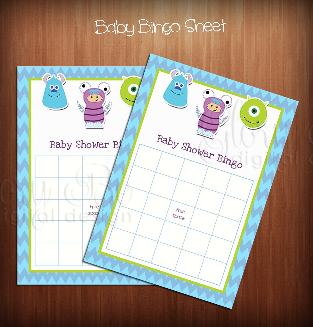 monsters inc baby shower bingo sheets by pixelperfectgraphics