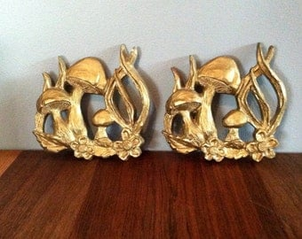 Vintage Gold Set of Mushroom Wall Hangings