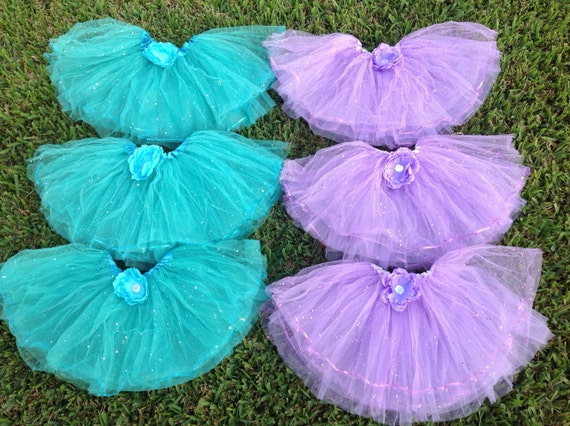 6 Purple Tutus,Turquoise tutus, Little Mermaid Party Favors, Princess Fairy Tutus, Fairy Wands Party Favors, Fairy Costume