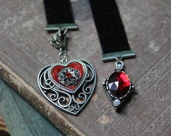 Heart Bookmark-Love Gift-Heart and gem bookmark-handmade bookmark-black satin bookmark-book accessories-Mothers Day gift