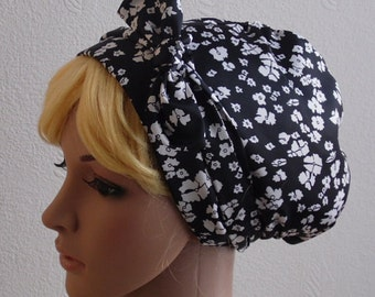 Black and White Satin Headscarf , Natural Hair Scarf, Silky Bandana, Tichel, Retro Style Hair Snood, Jewish  Head Covering