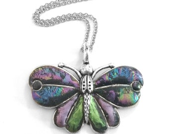 Butterfly Necklace, Artistic, Customizable, Nature Jewelry, Colorful Pendant, Apple Green and Lavendar