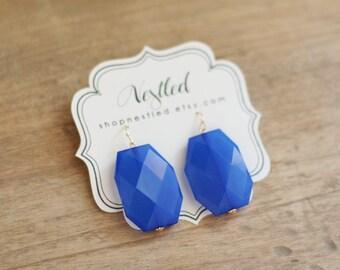 Cobalt Blue Statement Earrings, Blue Beaded Earrings, Blue Dangle Earrings
