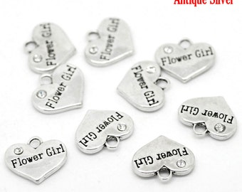 "4 Pieces Antique Silver Rhinestone ""Flower Girl"" Wedding Heart Charms"
